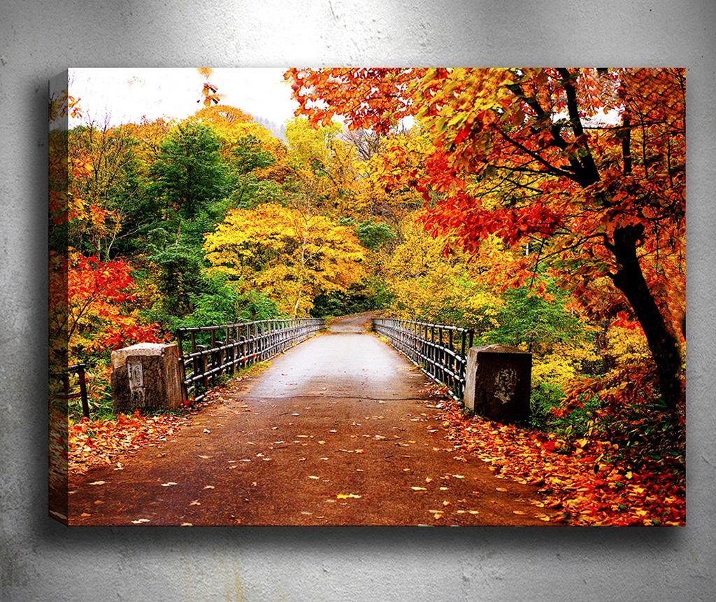 Tablou 3D Autumn Bridge 50x70 cm - Tablo Center, Portocaliu de la Tablo Center