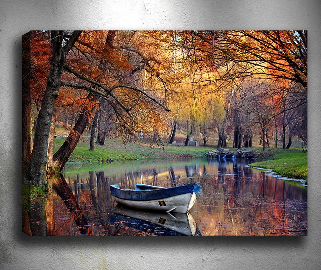 Tablou 3D Boat Lake 50x70 cm - Tablo Center, Multicolor imagine