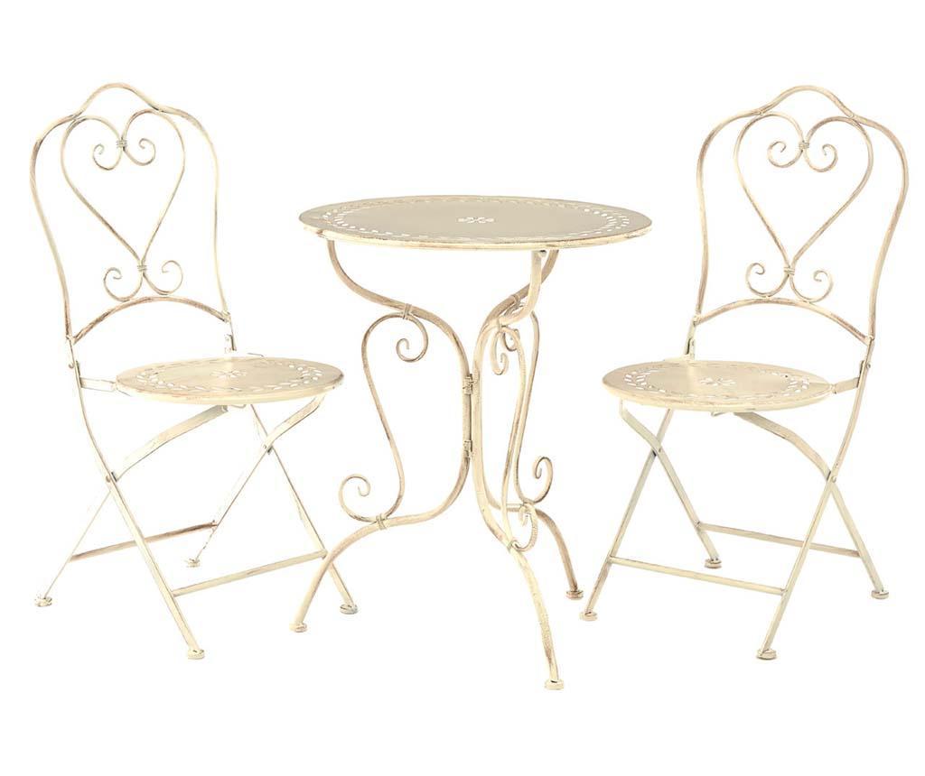Set masa si 2 scaune pliabile pentru exterior Finchwood Cream vivre.ro