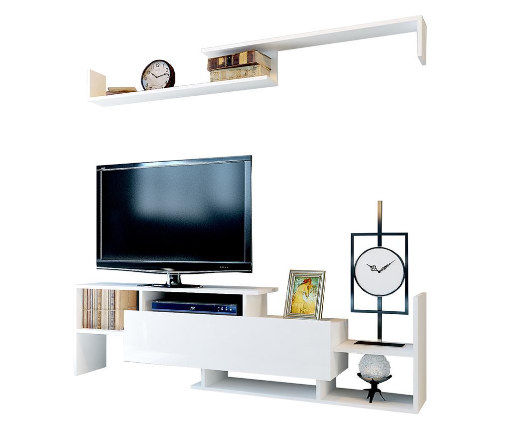 Set comoda TV si raft de perete Dream White vivre.ro