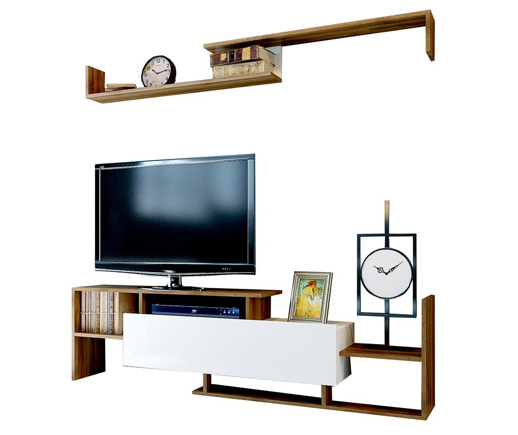Set comoda TV si raft de perete Dream Walnut - Woody Fashion, Maro imagine