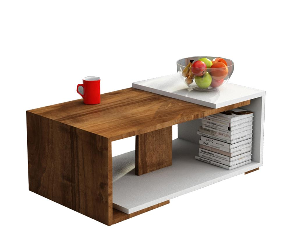 Masuta de cafea Modern Walnut - Woody Fashion, Alb,Maro imagine