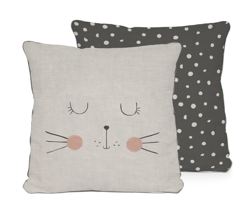 Perna decorativa Cat 45x45 cm - Little Nice Things, Gri & Argintiu,Negru poza