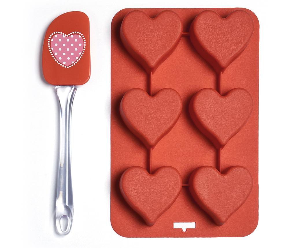 Set spatula si tava de copt cu 6 forme Heart - Excelsa, Rosu vivre.ro