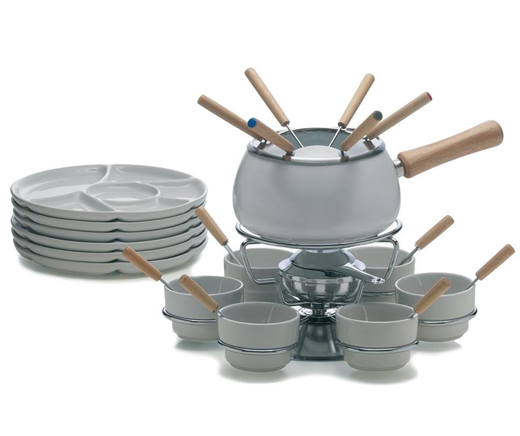 Set pentru fondue 28 de piese White - Excelsa, Gri & Argintiu imagine