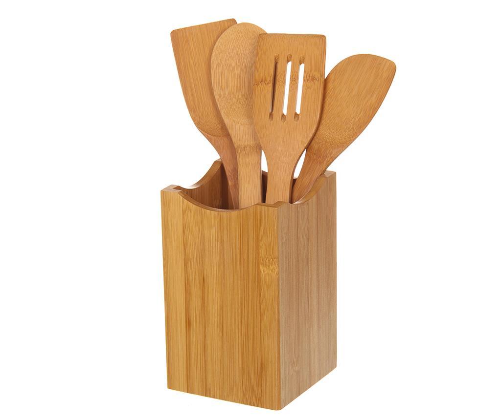 Set 4 ustensile de bucatarie si suport Bamboo imagine