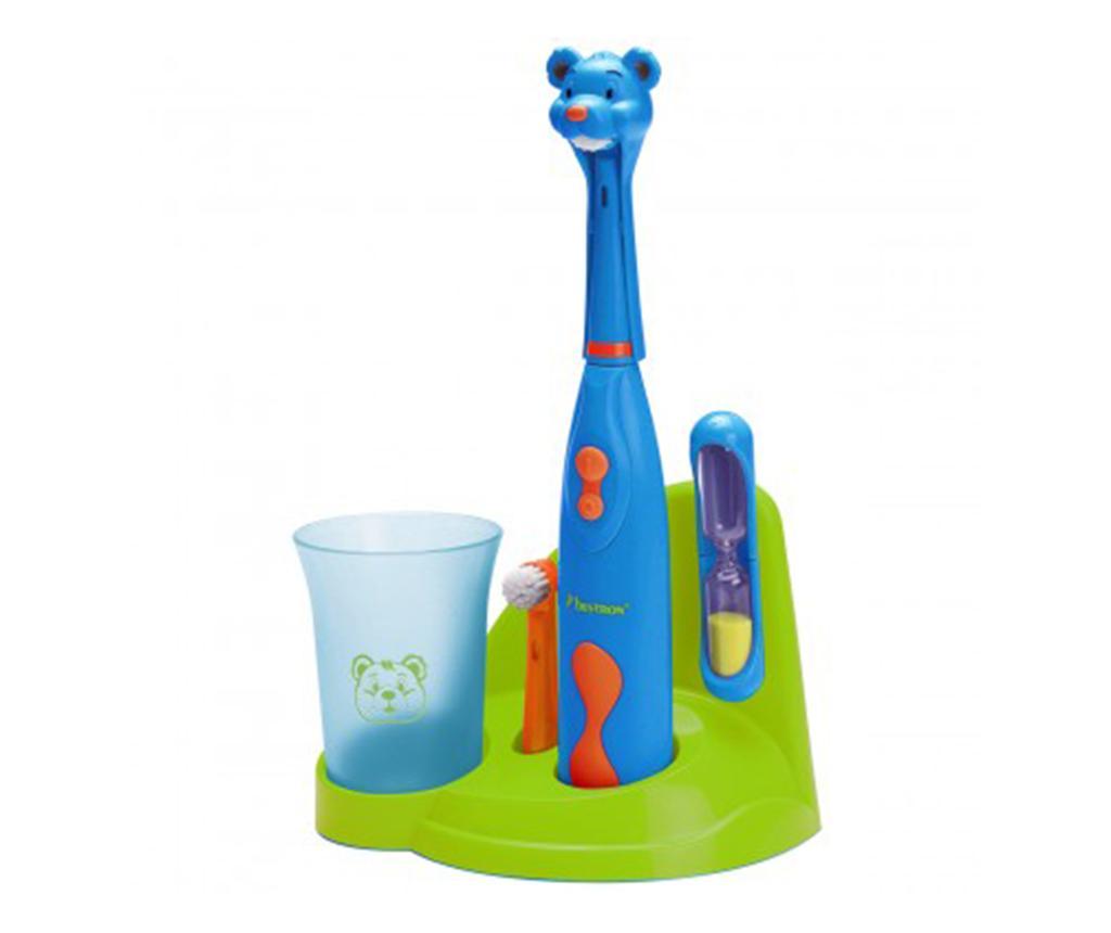 Set periuta de dinti electrica si accesorii pentru copii Clean Bear Blue
