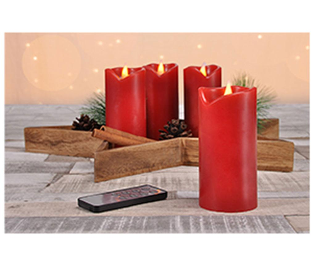 Set 4 lumanari Advent cu LED, suport si telecomanda Star & Light Red