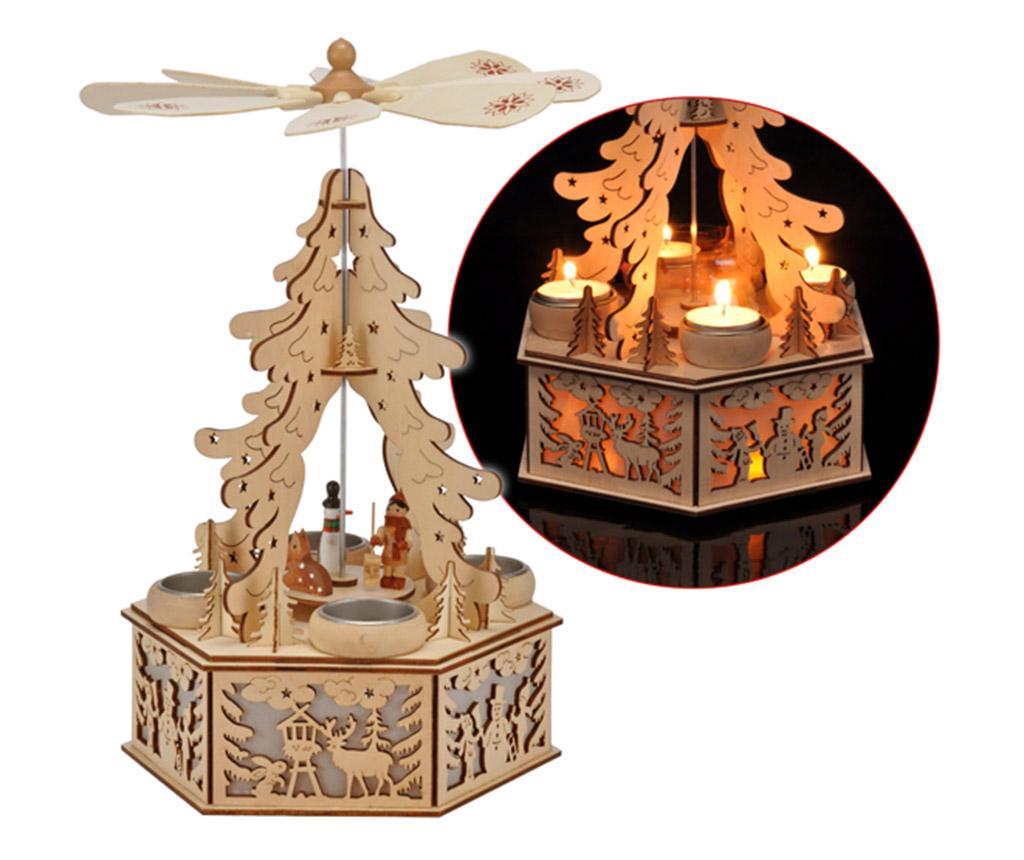 Decoratiune luminoasa cu 4 suporturi pentru lumanari Christmas Tree imagine