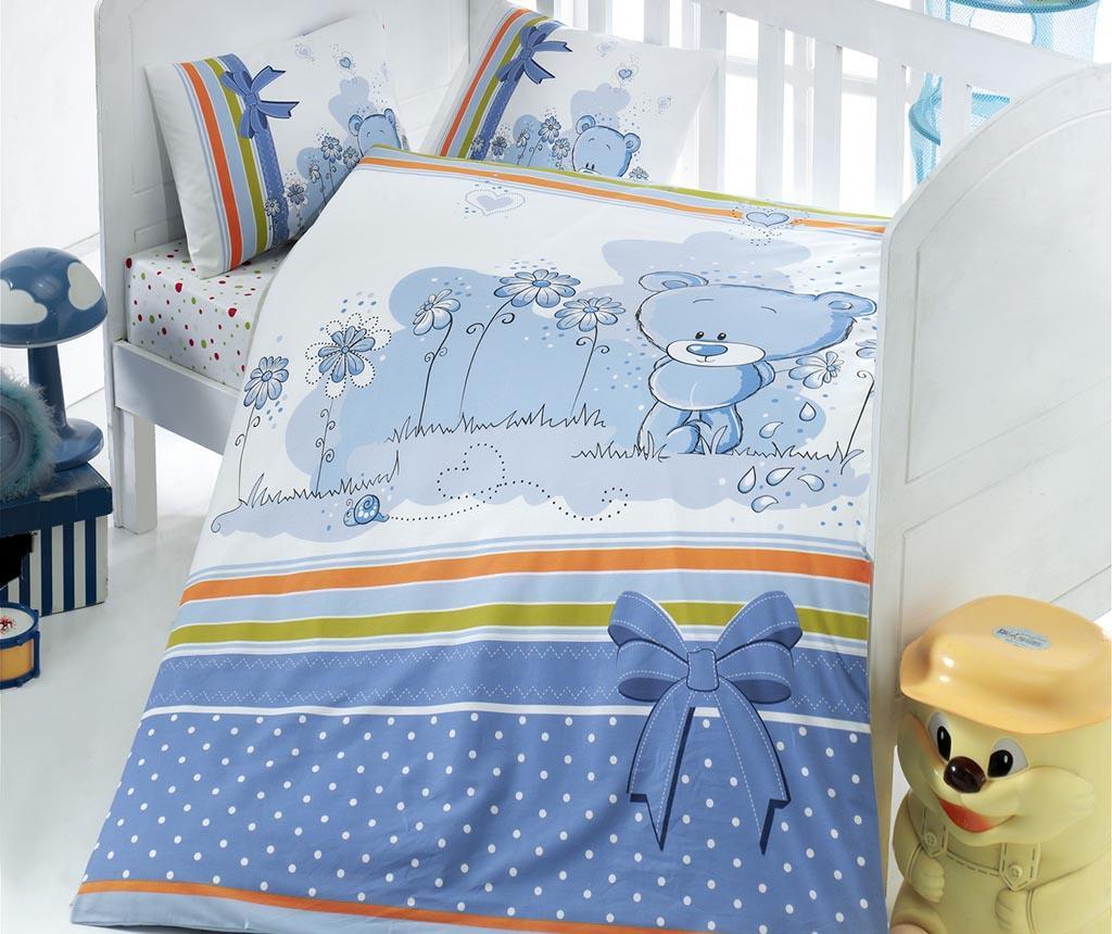 Lenjerie de patut Ranforce Bear Blue 100x150 imagine