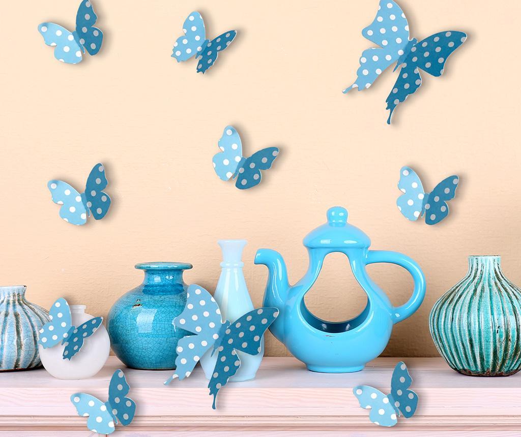 Set 10 stickere 3D Blue Butterflies