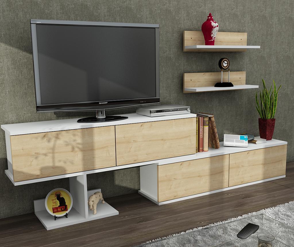 Set comoda TV si 2 polite Maximus - Furny Home, Alb,Crem imagine