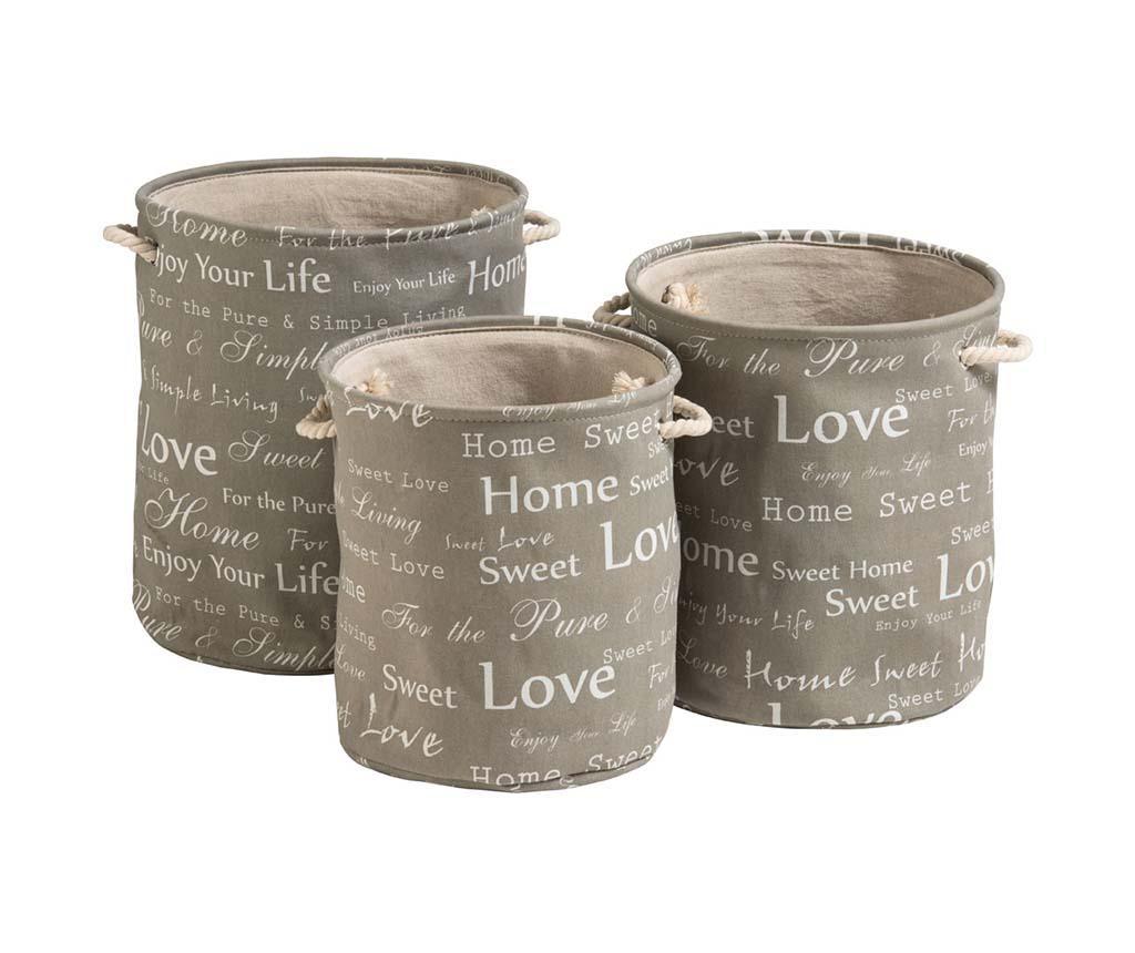 Set 3 cosuri pentru rufe English Words - Premier, Gri & Argintiu imagine