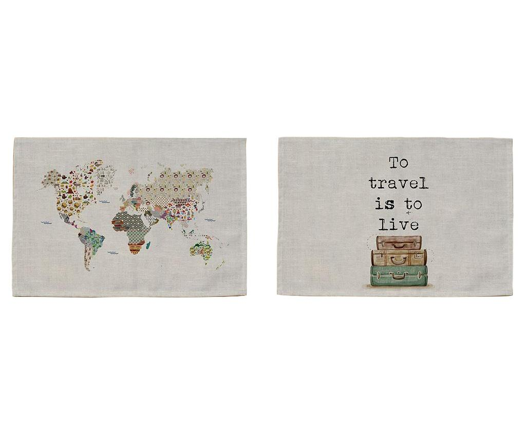 Set 2 suporturi farfurii World 30x45 cm - Really Nice Things, Gri & Argintiu poza