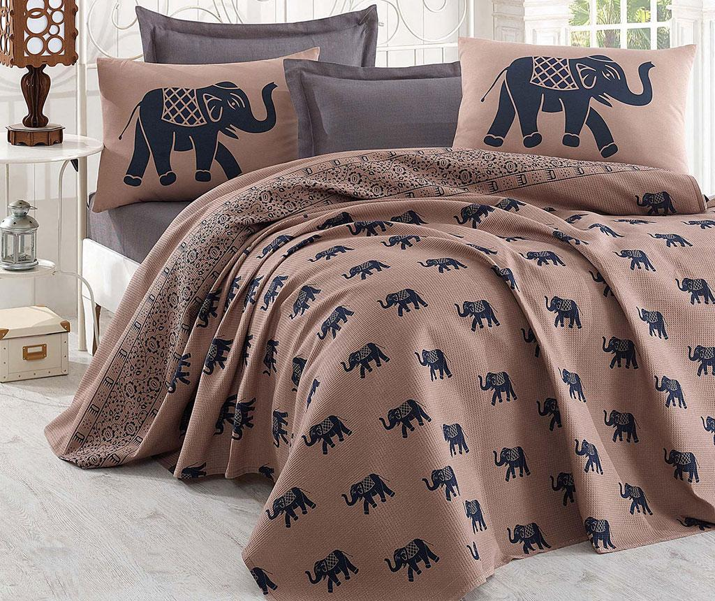 Lenjerie de pat Double Pique Elephant Brown Dark Blue 200x235 - Eponj Home, Albastru