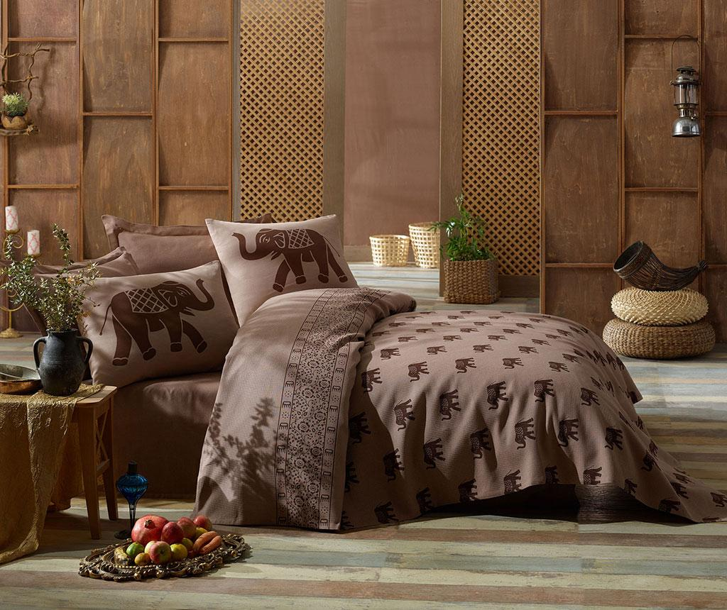 Lenjerie de pat Double Pique Elephant Brown 200x235 - Eponj Home, Maro imagine