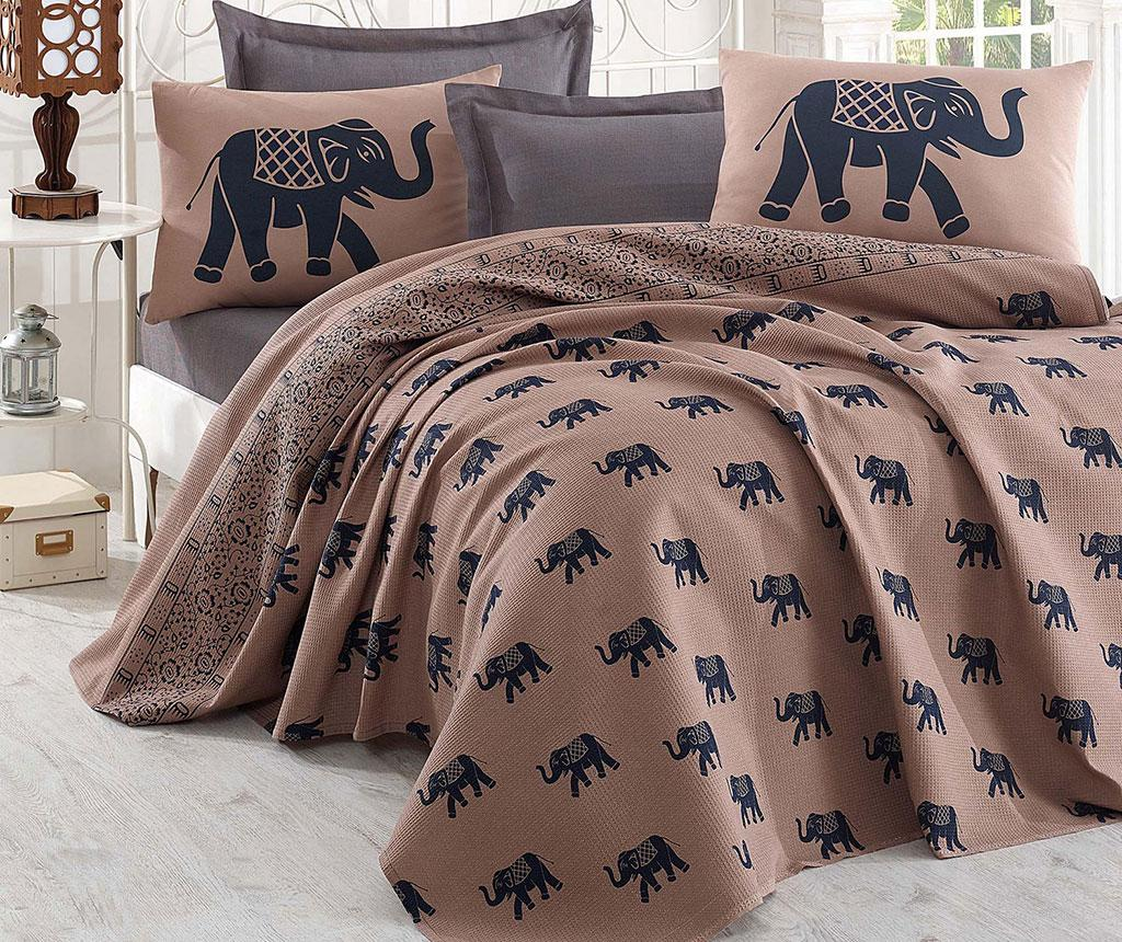 Cuvertura Pique Elephant Brown Dark Blue 200x235 cm - Eponj Home poza