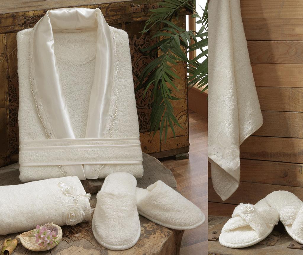 Set textile pentru baie 4 piese Rose Ecru - Irya, Crem imagine