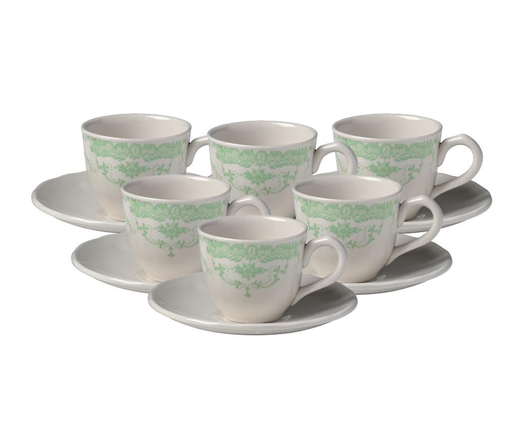 Sada 6 šálků a 6 podšálků na kávu Rose Green