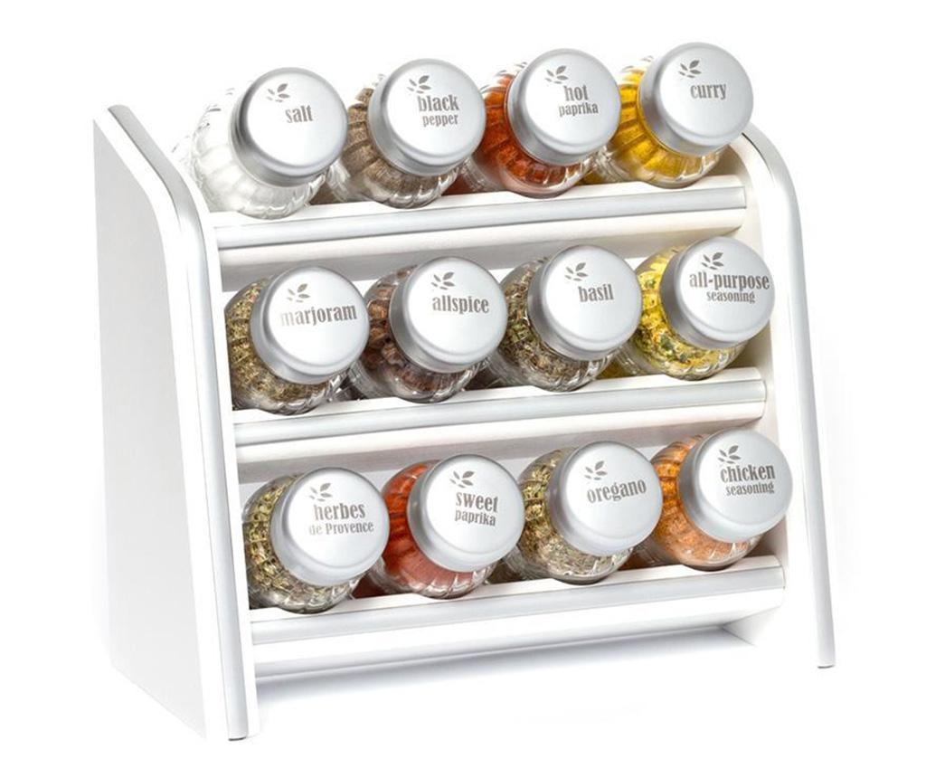 Set 12 recipiente cu condimente si suport suspendabil Silver Line White - GALD, Alb imagine