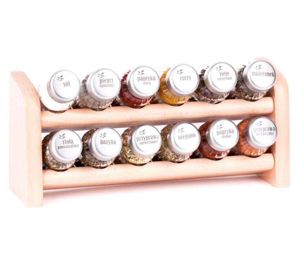 Set 12 recipiente cu condimente si suport suspendabil Special Natural - GALD, Crem