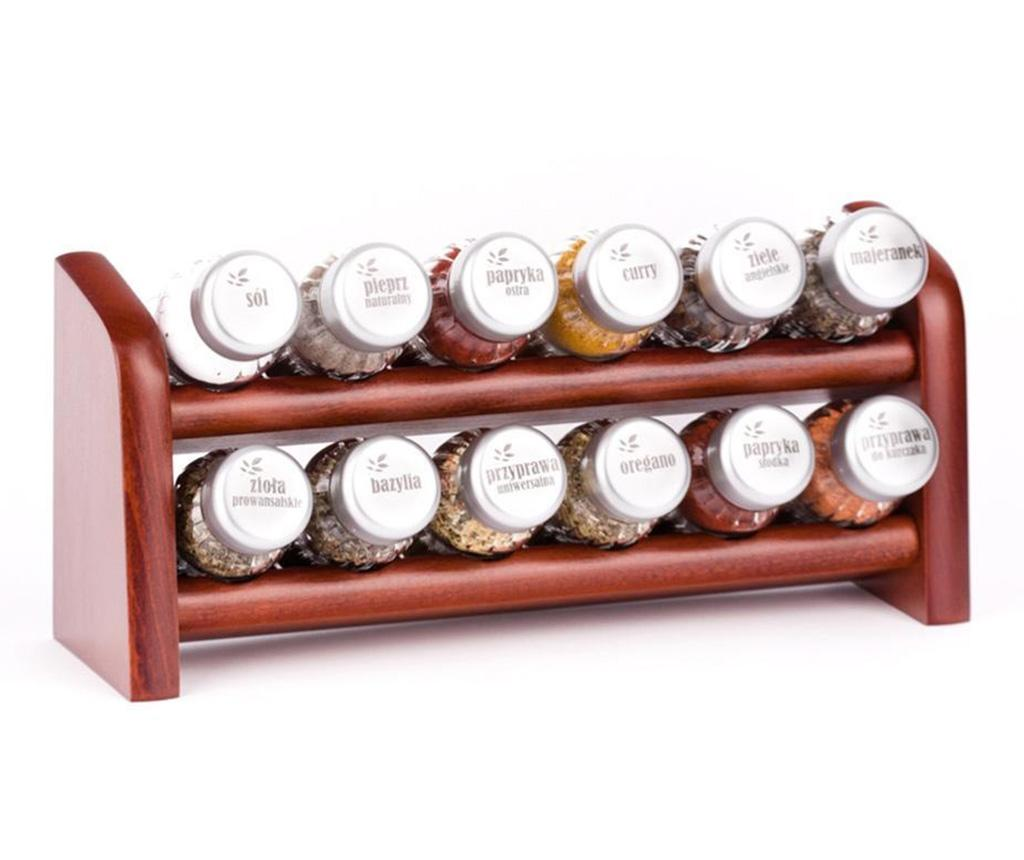 Set 12 recipiente cu condimente si suport suspendabil Special Brown