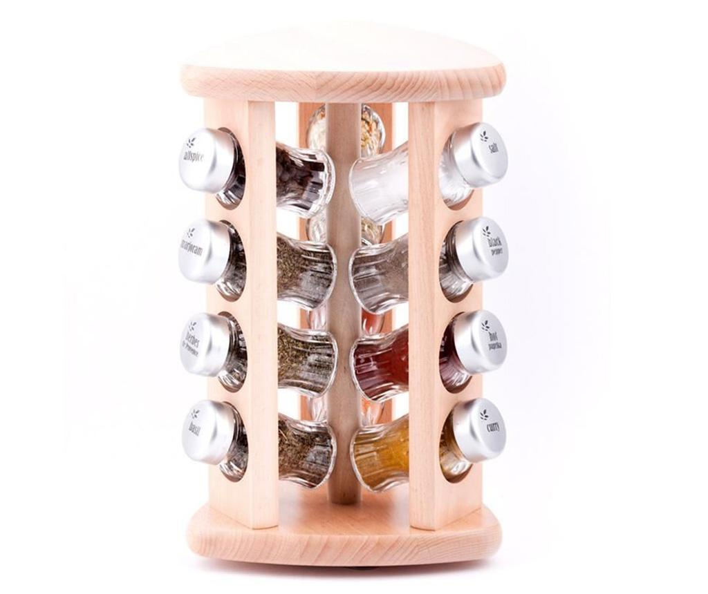 Set 12 recipiente cu condimente si suport rotativ Carousel Triangle Natural - GALD, Crem imagine