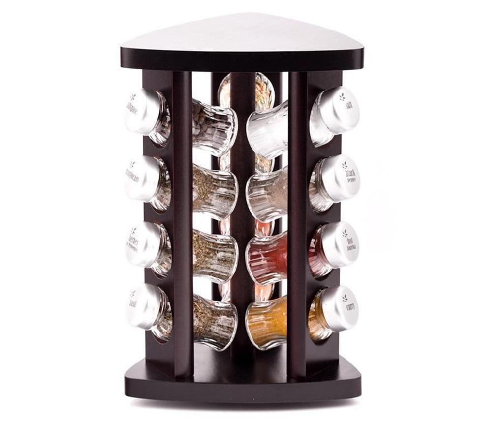 Set 12 recipiente cu condimente si suport rotativ Carousel Triangle Wenge