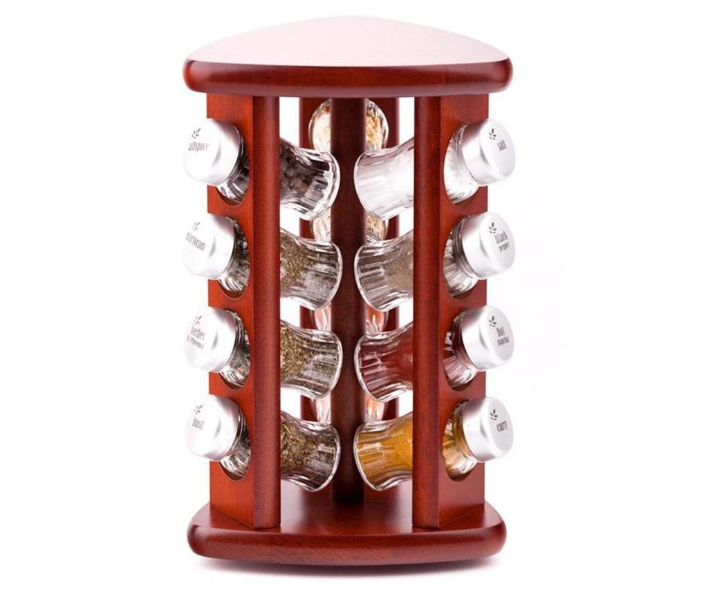 Set 12 recipiente cu condimente si suport rotativ Carousel Triangle Brown imagine