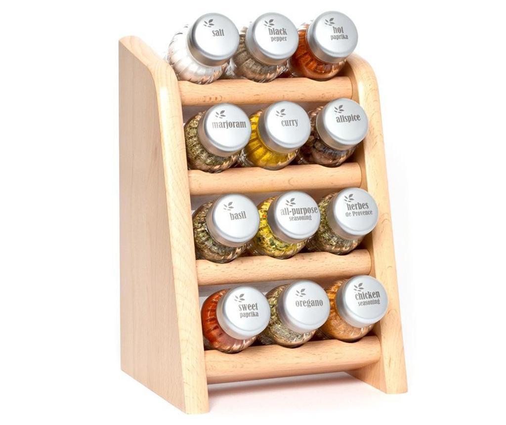 Set 12 recipiente cu condimente si suport suspendabil Compact High Natural - GALD, Crem imagine