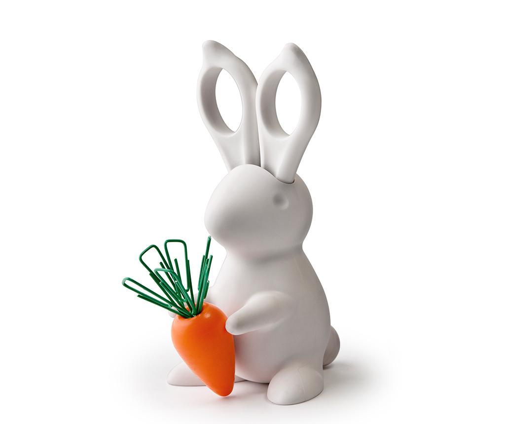 Set foarfeca cu suport si agrafe de birou Bunny White - Qualy, Alb
