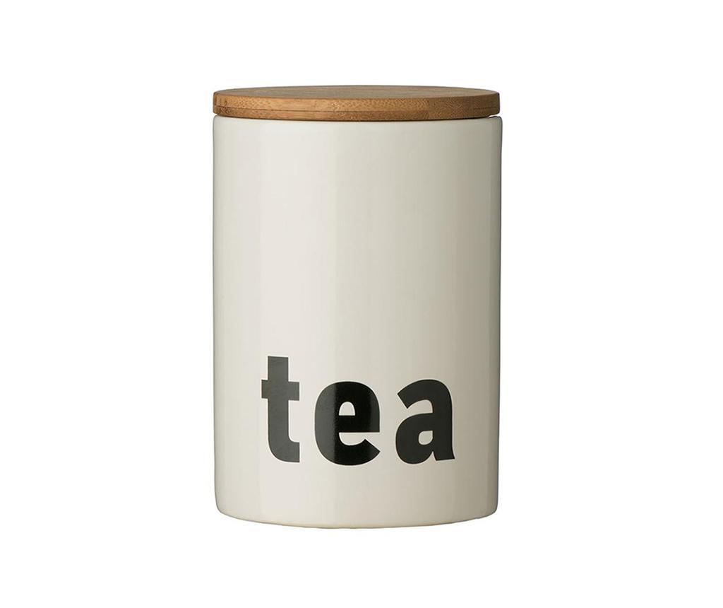 Recipient cu capac pentru ceai Letters - Premier, Alb