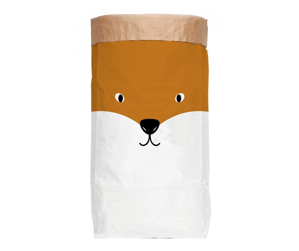 Sac de hartie Fox - The Wild Hug, Alb,Galben & Auriu