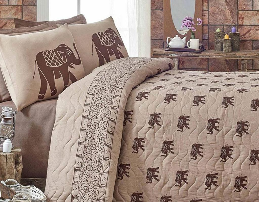 Set cuvertura matlasata Double Elephant Brown - Eponj Home, Maro imagine