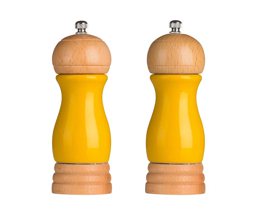 Set 2 rasnite pentru sare si piper Milo Yellow imagine
