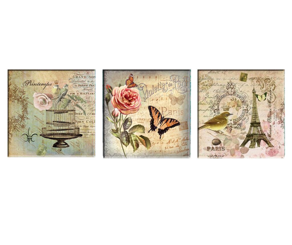 Set 3 tablouri Romantic Paris 30x30 cm - Tablo Center, Gri & Argintiu imagine
