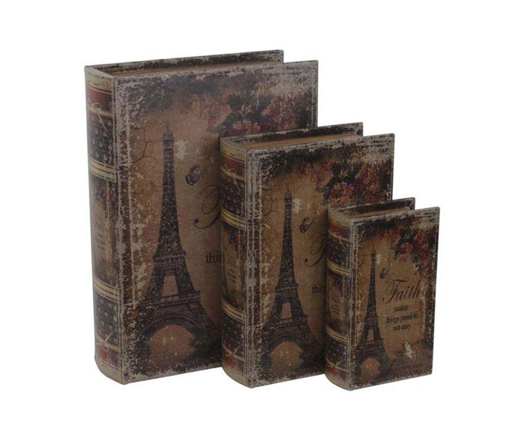Set 3 cutii tip carte Eiffel imagine