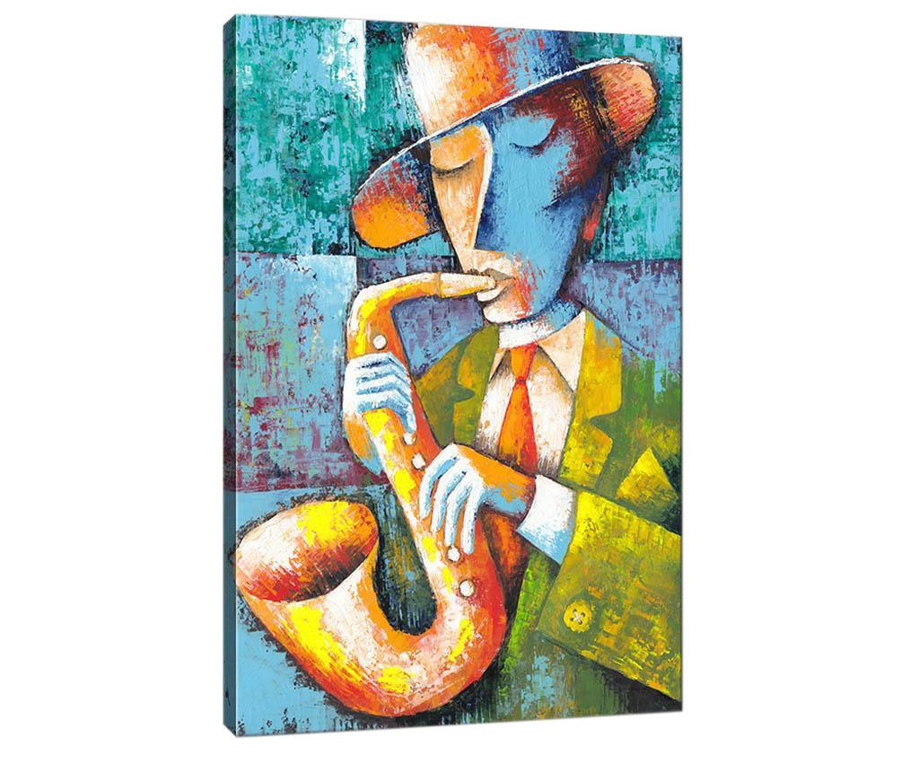 Tablou Saxophone Player 50x70 cm - Tablo Center, Albastru,Multicolor imagine