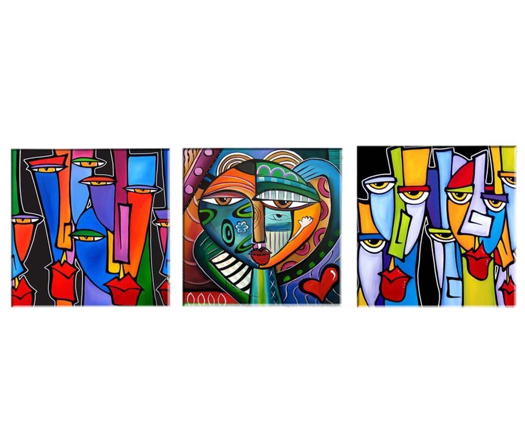 Set 3 tablouri Picasso 30x30 cm - Tablo Center, Multicolor imagine