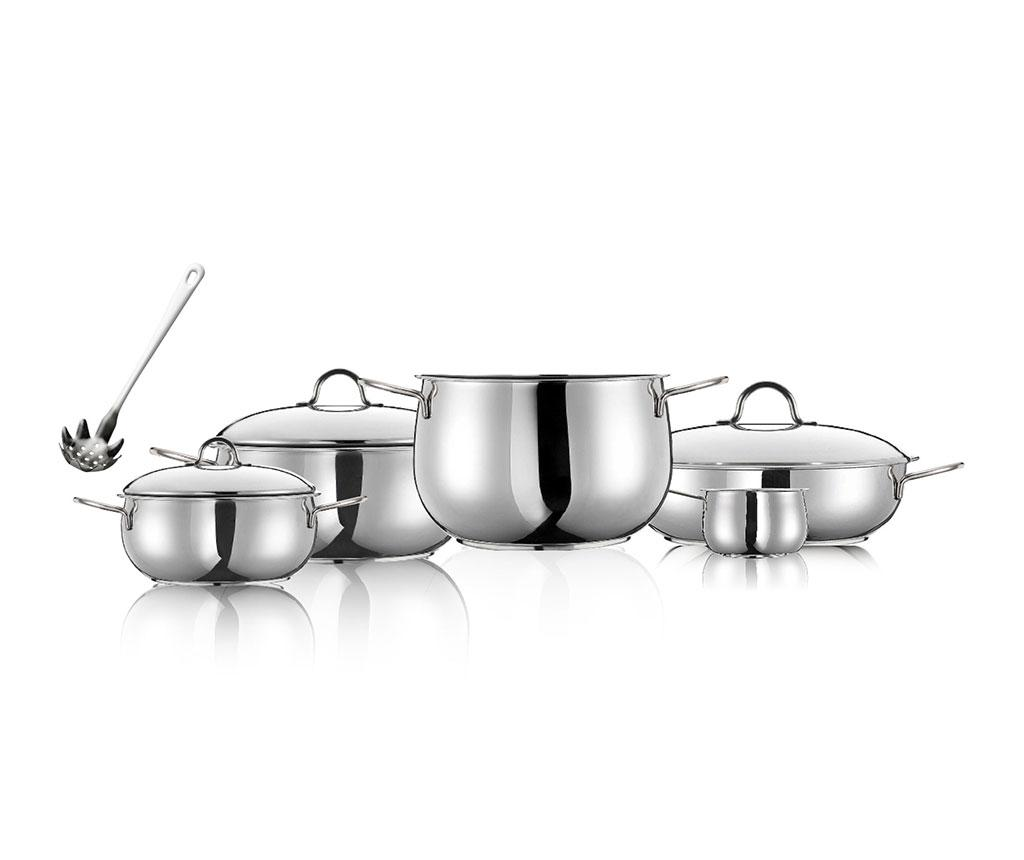 Set vase pentru gatit 9 piese River - INOXRIV, Gri & Argintiu imagine