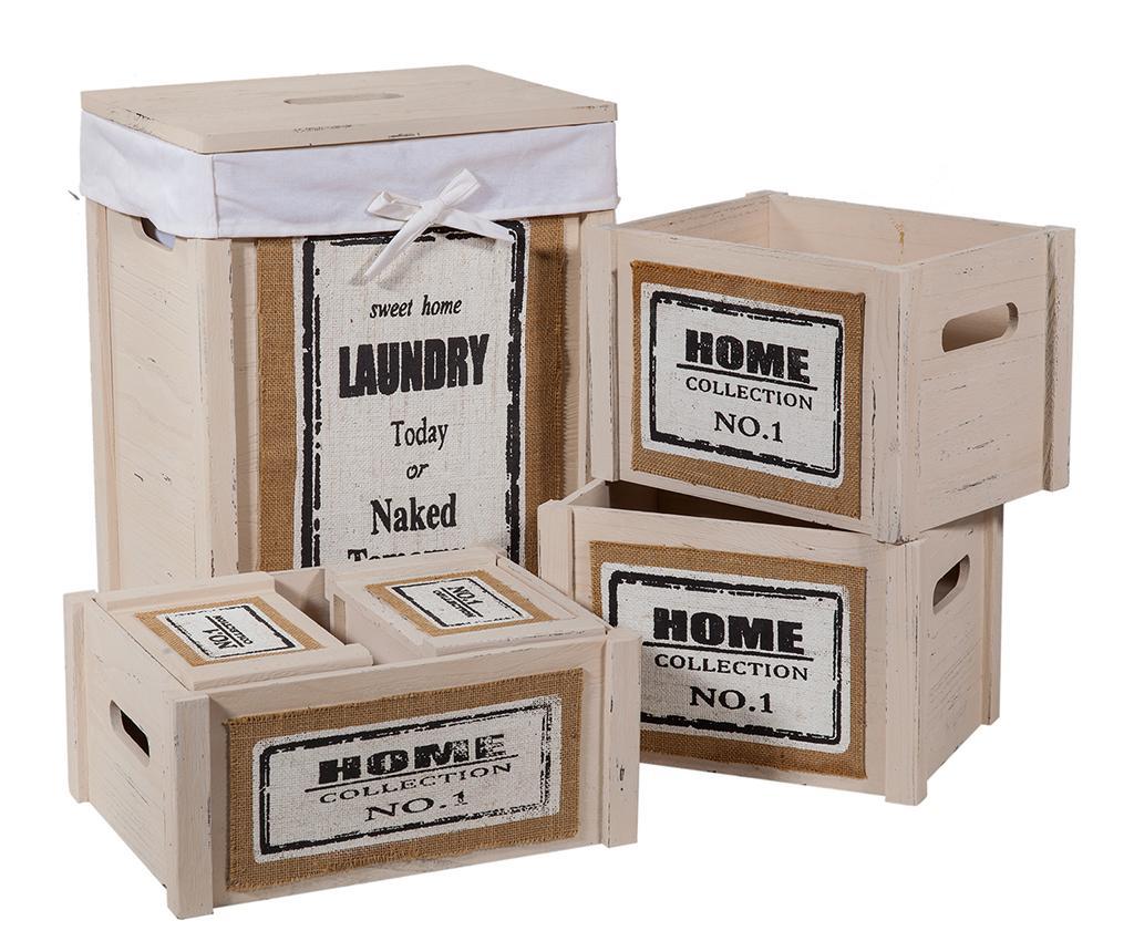 Set cos cu capac pentru rufe si 5 cutii pentru depozitare Home Beige - Creaciones Meng, Crem imagine