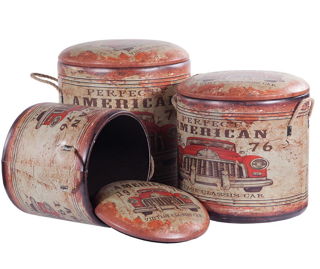 Set 3 taburete Perfect American - Creaciones Meng, Multicolor imagine