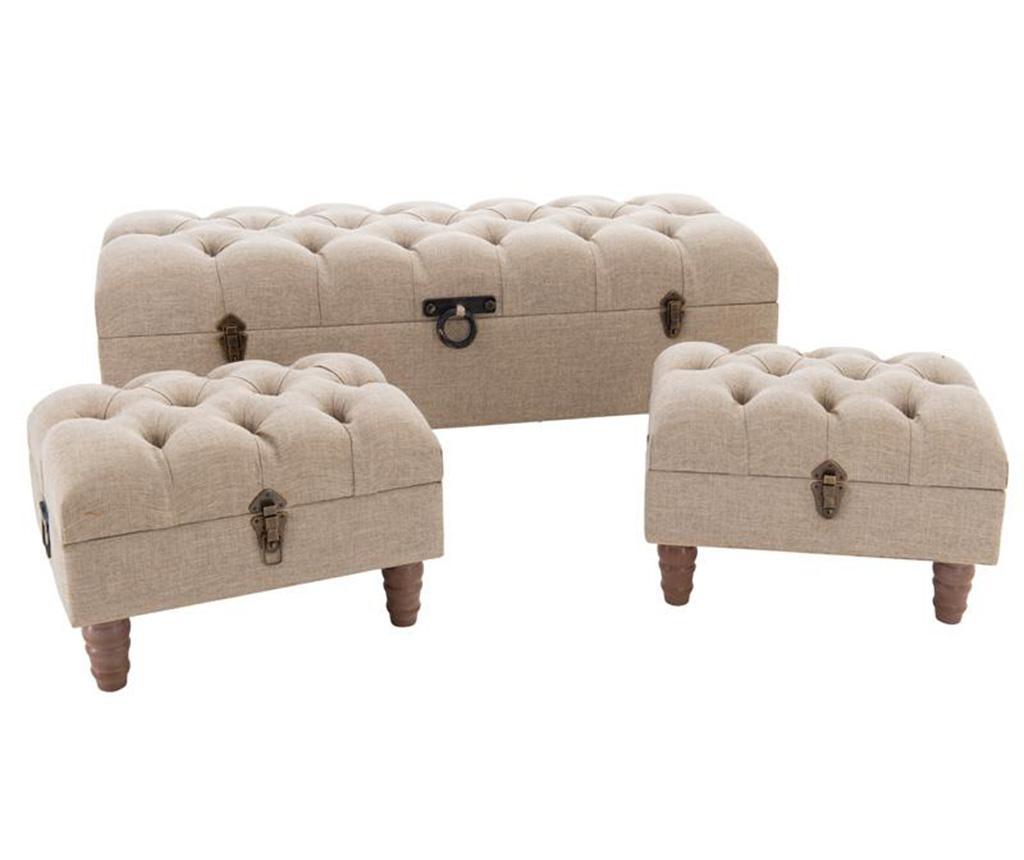 Set bancheta si 2 taburete Marion Cream - inart imagine