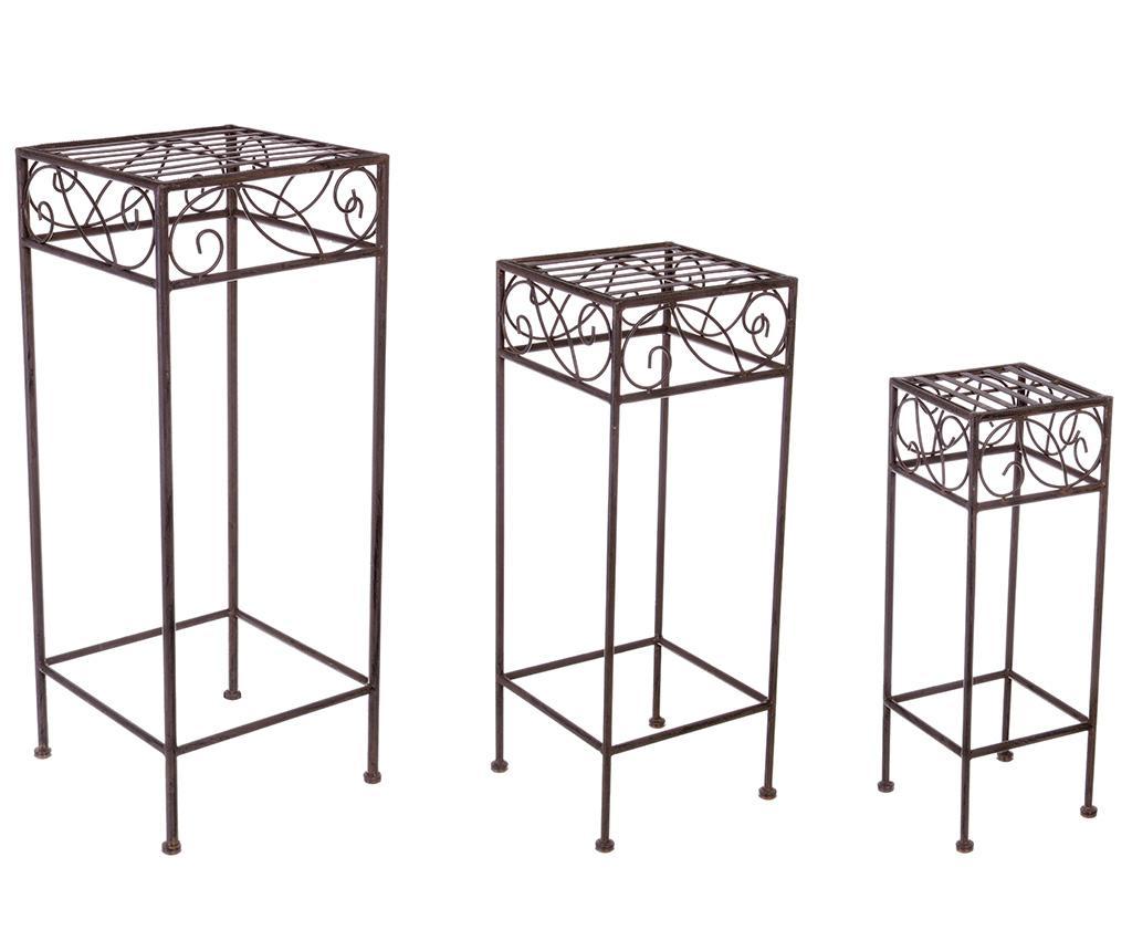 Set 3 suporturi pentru ghivece Melanie Brown Square - Bizzotto, Negru