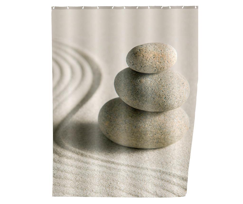 Perdea de dus Sand and Stones 180x200 cm - Wenko, Gri & Argintiu