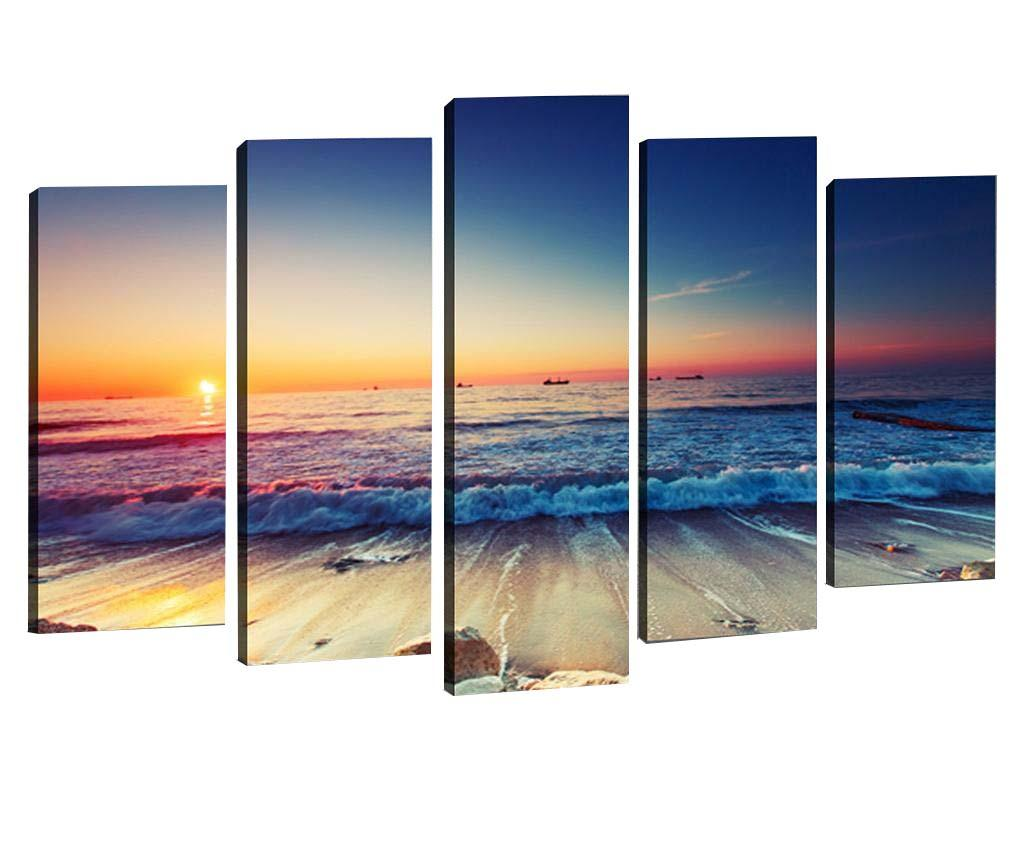 Set 5 tablouri 3D Ocean Waves - Tablo Center, Multicolor imagine