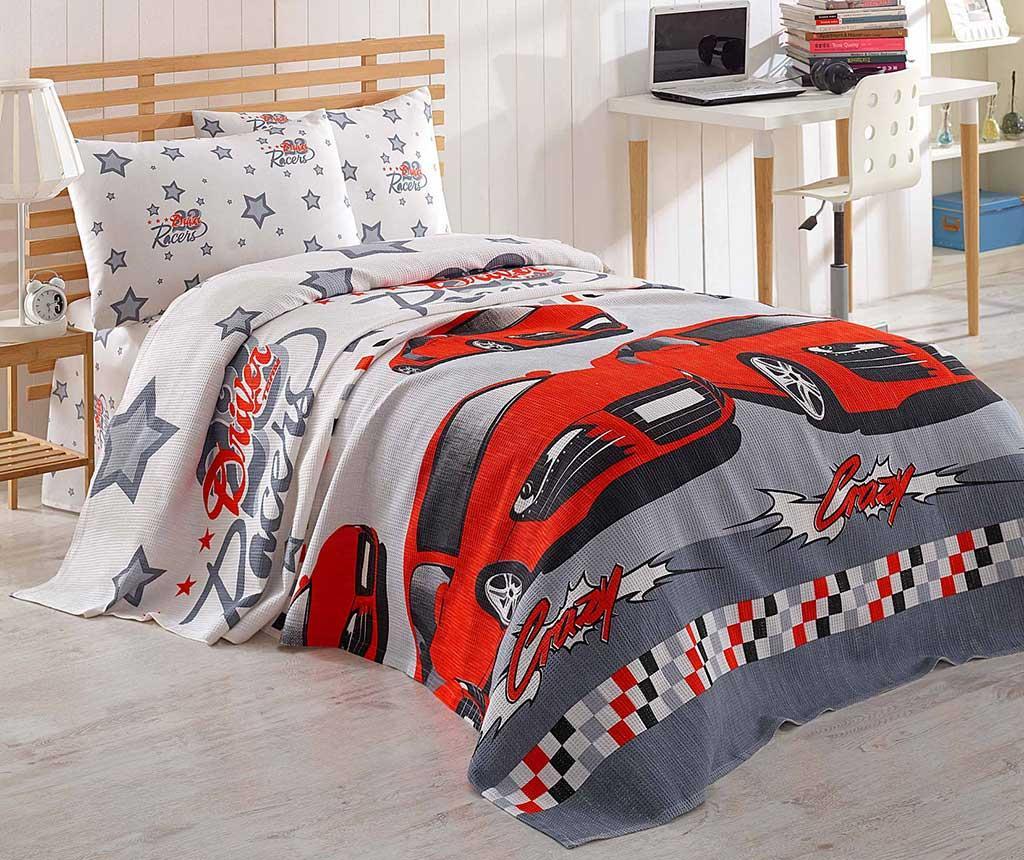 Lenjerie de pat Single Pique Crazy Red 160x235 - Eponj Home, Multicolor