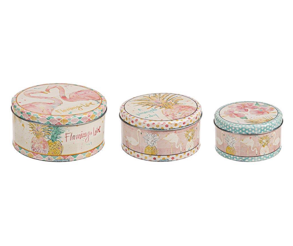 Set 3 cutii cu capac Flamingo Love - Bizzotto, Alb,Roz