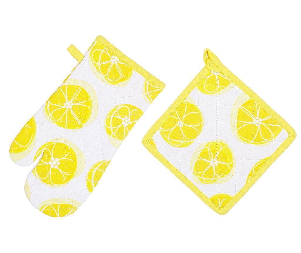 Set manusa de bucatarie si suport pentru vase fierbinti Lemony