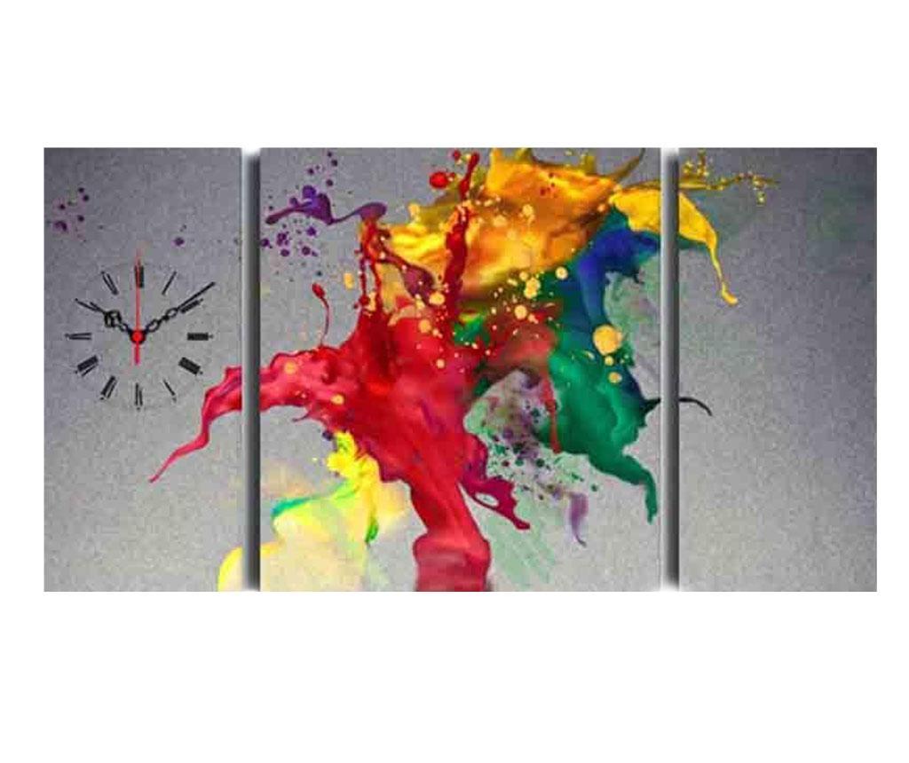 Set 3 tablouri cu ceas Splash Colors